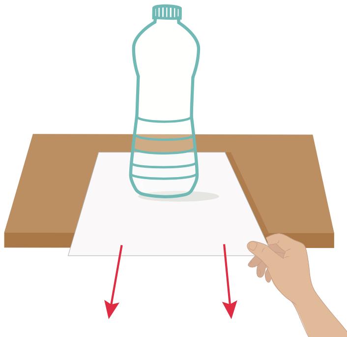 Riesci a sfilare il foglio senza fare cadere la bottiglia vuota?