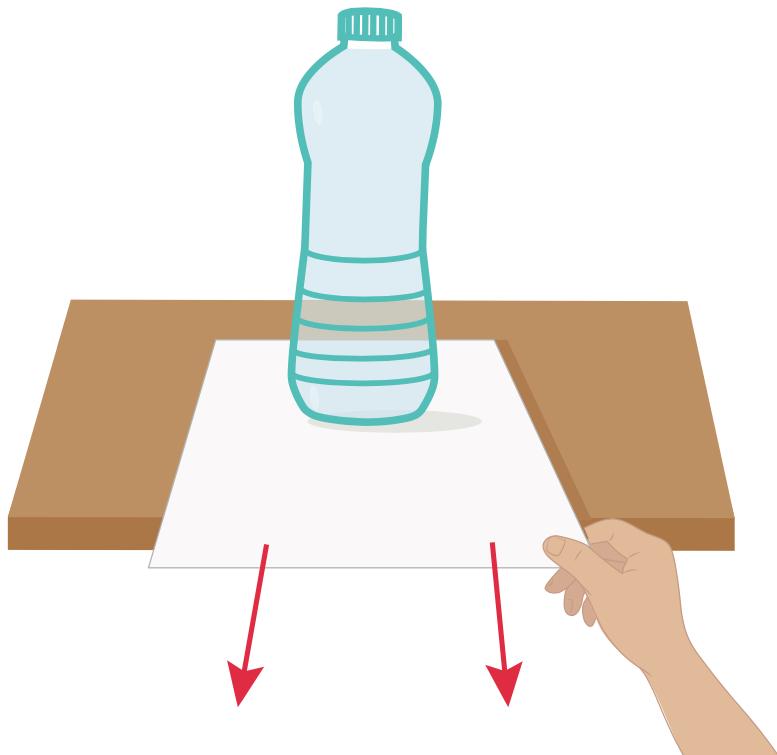 Riesci a sfilare il foglio senza fare cadere la bottiglia piena?