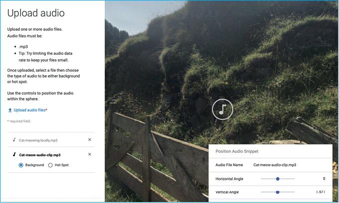 Inserimento dei contenuti audio in una foto a 360° con Story Spheres