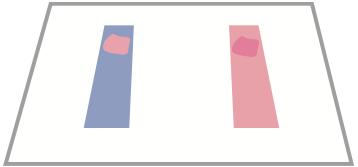 Una goccia su ciascuna estremità di ciascuna cartina tornasole