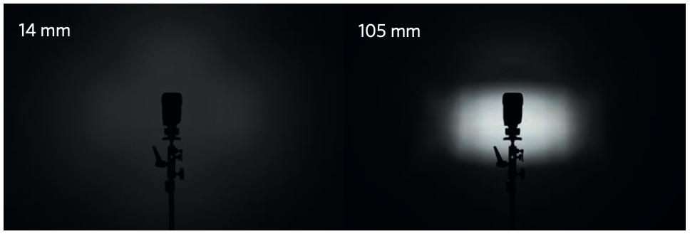 Confronto di un flash a pari potenza con parabola a 14 mm e a 105 mm