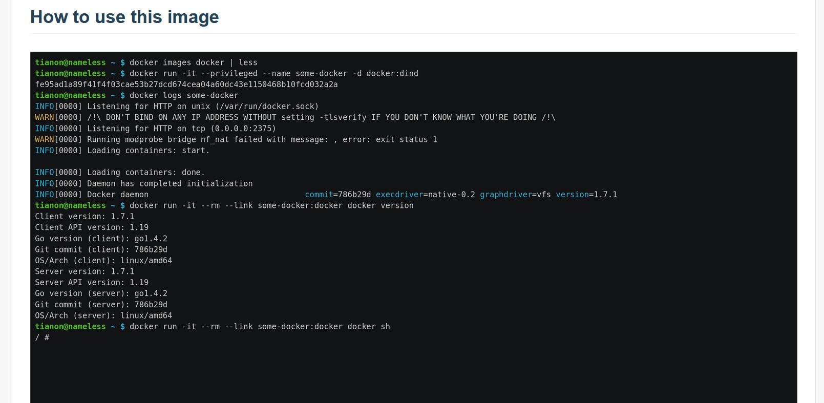Esecuzione di dind e lancio di un container con Docker già avviato
