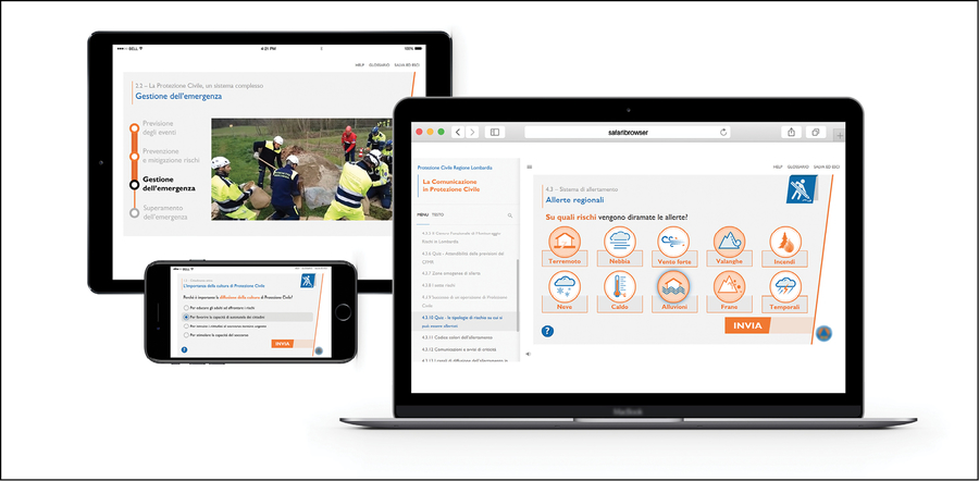 Esempio di contenuti responsive su PC, tablet e smartphone