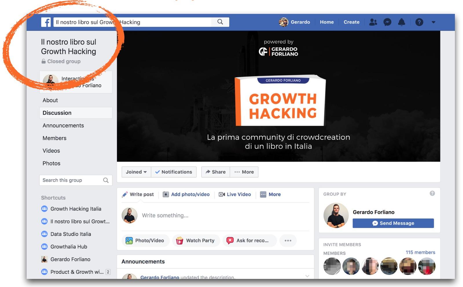 Il gruppo Facebook della community
