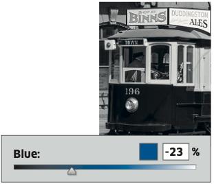 Il blu del tram non è un blu puro, quindi bisogna dargli un valore negativo per scurirlo