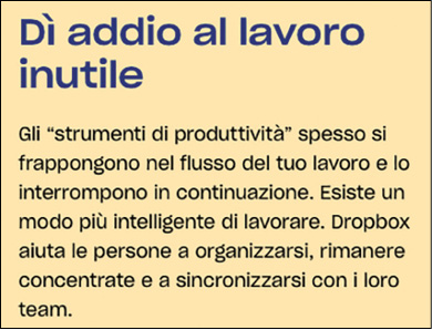 Il box di testo di Dropbox.com in italiano