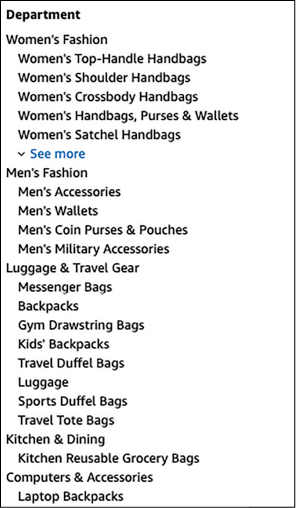 Il menu di Amazon in inglese