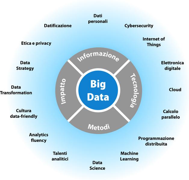 Il modello ITMI (Informazione, Tecnologia, Metodi, Impatto dei Big Data. Le parole intorno rappresentano gli argomenti più popolari connessi a ciascuna delle quattro componenti di ITMI