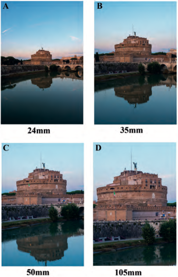Immagini dello stesso monumento realizzate con obiettivi di diversa lunghezza focale dallo stesso punto di ripresa
