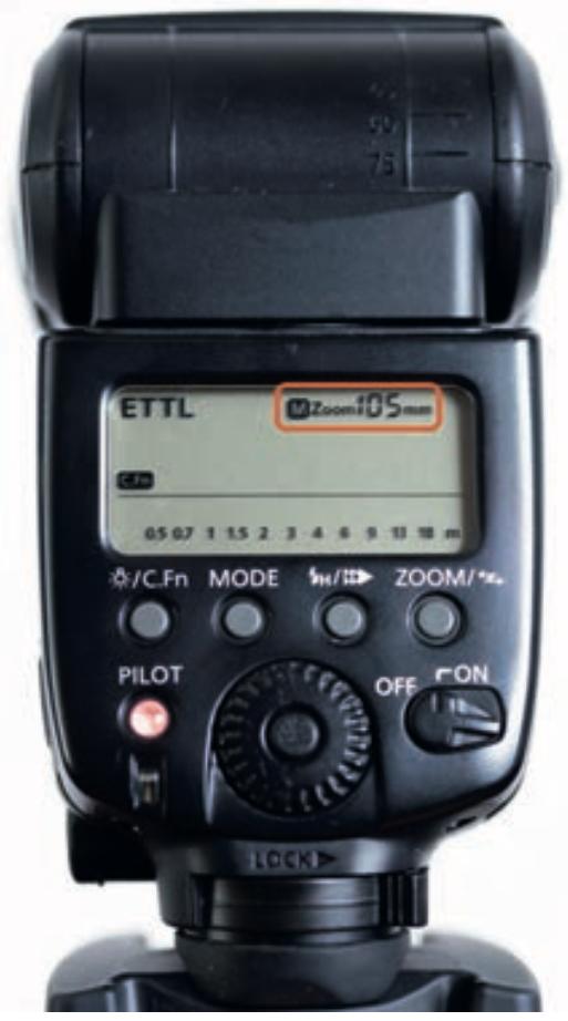 Indicazione del valore di parabola sul flash Canon 580EX II
