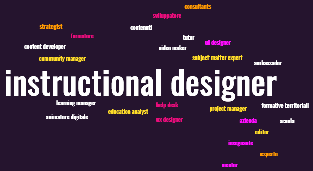 Instructional Design - tag cloud con nomi e professionalità