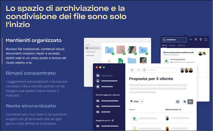 L'homepage di Dropbox.com in italiano
