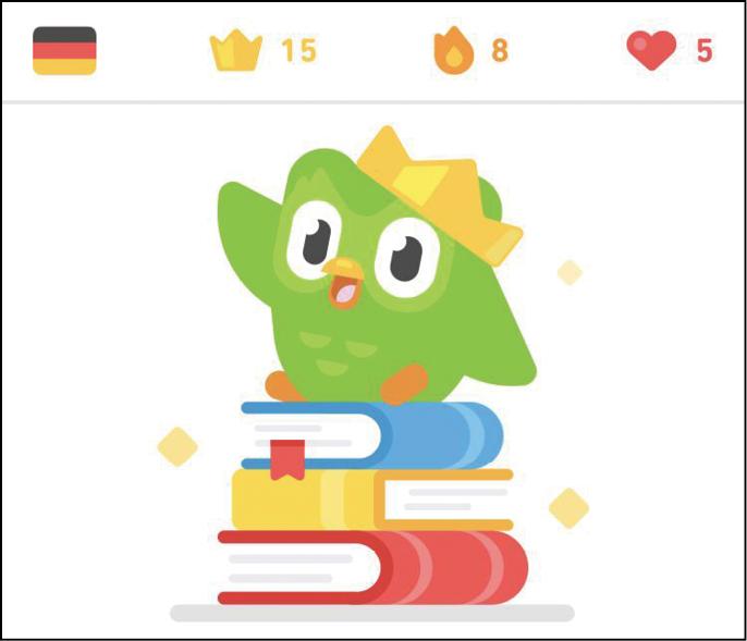 La mascotte di Duolingo, un gufo verde, è un buon esempio di personaggio-guida all'interno di un percorso e-Learning