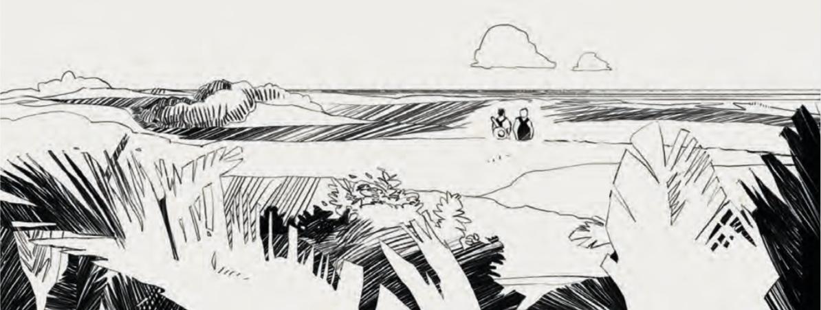 La vegetazione nel primo piano di questa immagine è solo accennata: è costituita principalmente da silhouette parzialmente tratteggiate. Con un livello di dettaglio maggiore, il paesaggio perderebbe in spaziosità e dinamica