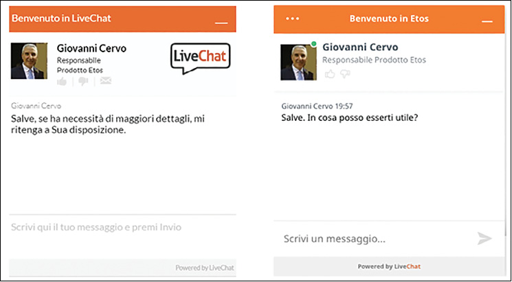 LiveChat di etosweb, prima e dopo la cura - un tono colloquiale è migliore di uno formale perché riproduce una normale conversazione