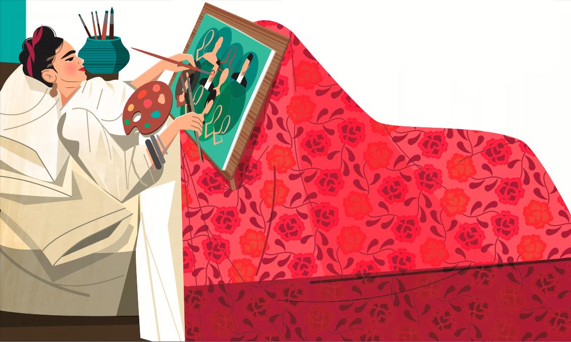 Nel periodo iniziale della guarigione, la madre di Frida le procurò un cavalletto speciale per permetterle di dipingere a letto