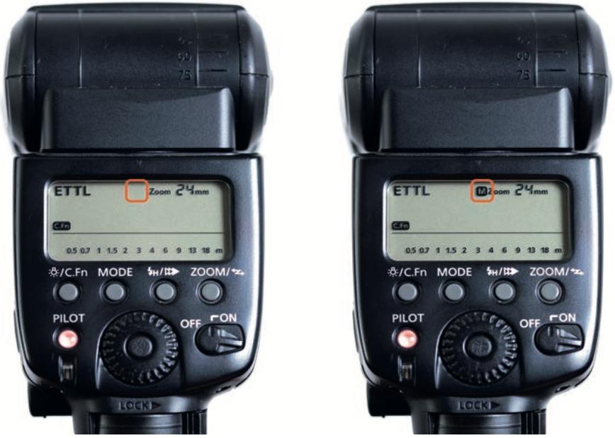 Parabola in modalità AUTO (a sinistra) e in modalità manuale (a destra)