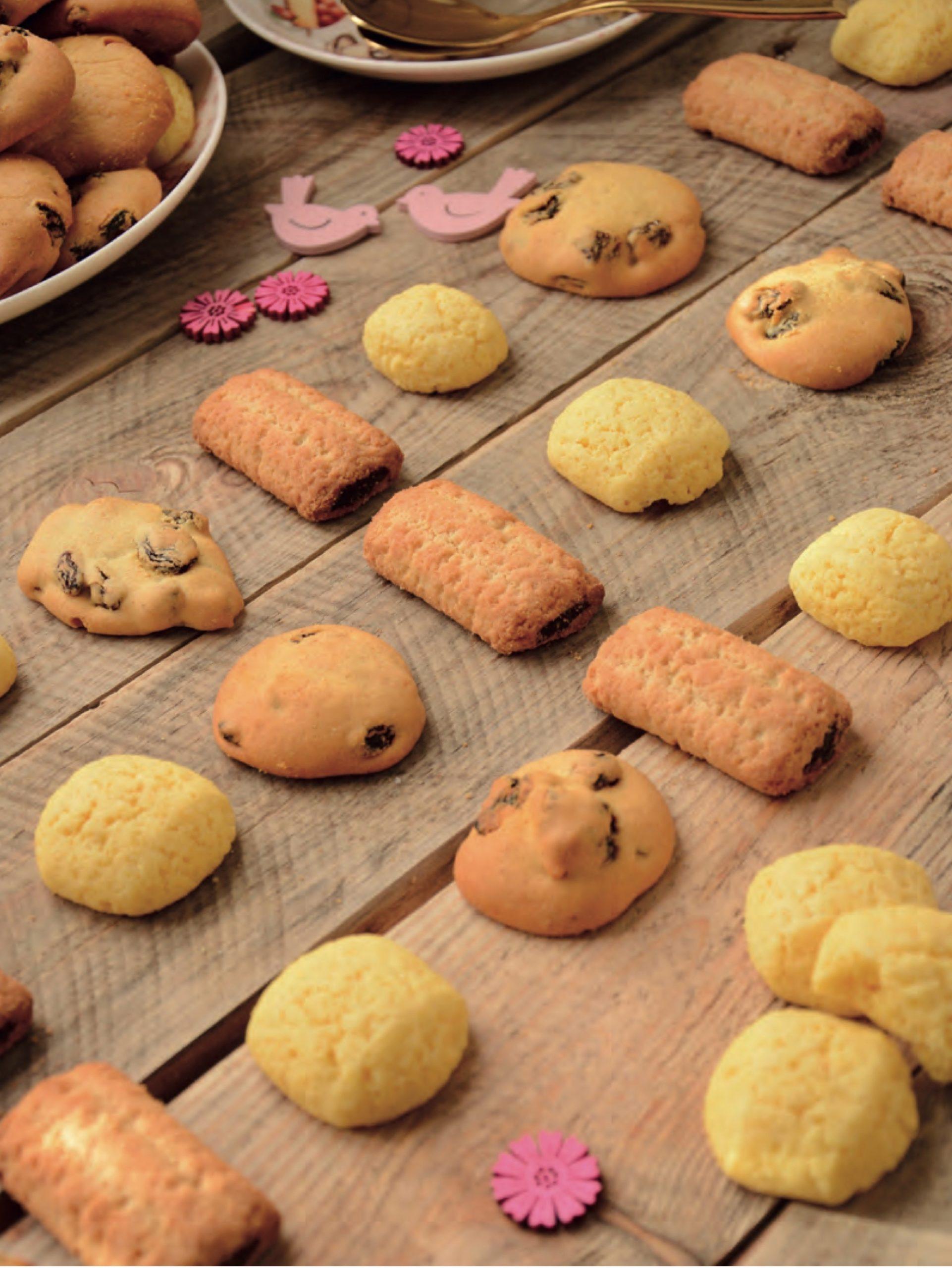 Piano di messa a fuoco diagonale - il piano focale è quello di mezzo, che coinvolge le tre tipologie di biscotti