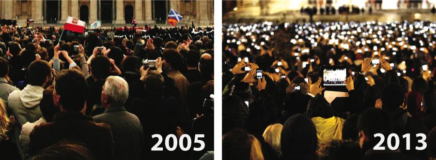 Piazza San Pietro a Roma, nel giorno dell'elezione di Papa Benedetto XVI, a sinistra, e di Papa Francesco, a destra. Notate una differenza?