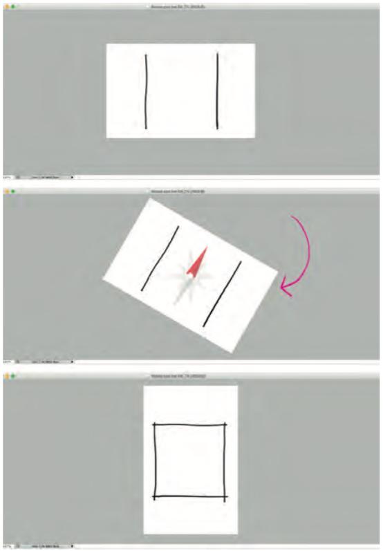 Ruotiamo la vista in modo da poter tracciare le linee nel modo più favorevole