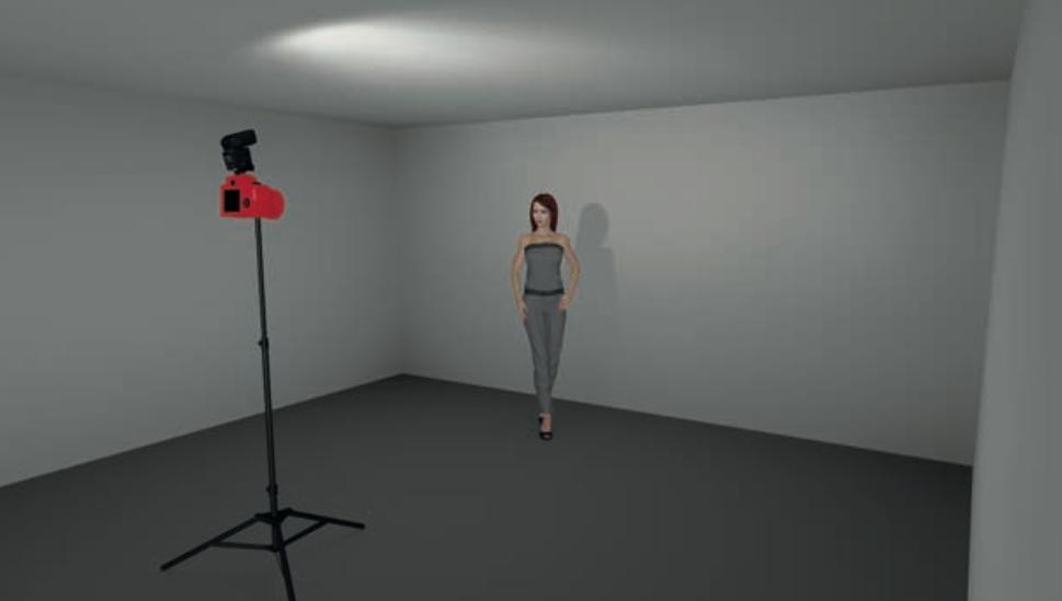 Schema del flash on-camera con rimbalzo sul soffitto