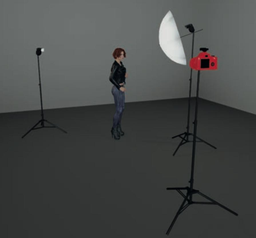 Schema di luci con due flash, uno per la luce principale e uno per la rim light