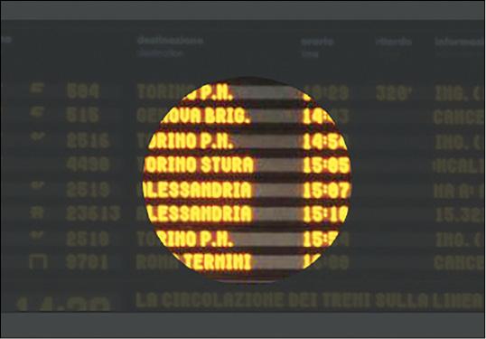 Un esempio di come funziona la visione a tunnel quando guardiamo il tabellone dei treni in stazione - la nostra attenzione è ridotta solo a quello che ci interessa