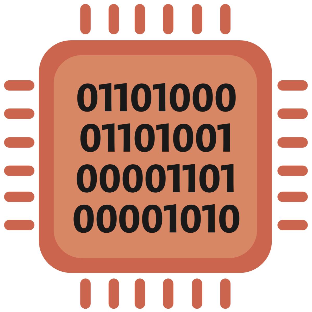 Un microprocessore pieno di codice binario