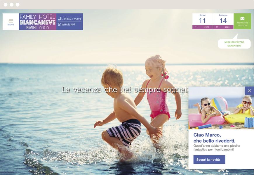 Un'interazione all'interno del sito interagisce in modo personalizzato con un utente già noto e presente nel database
