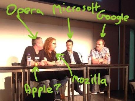 Foto dei quattro webangelisti scattata a Londra nel corso di State of the Browser - aprile 2012