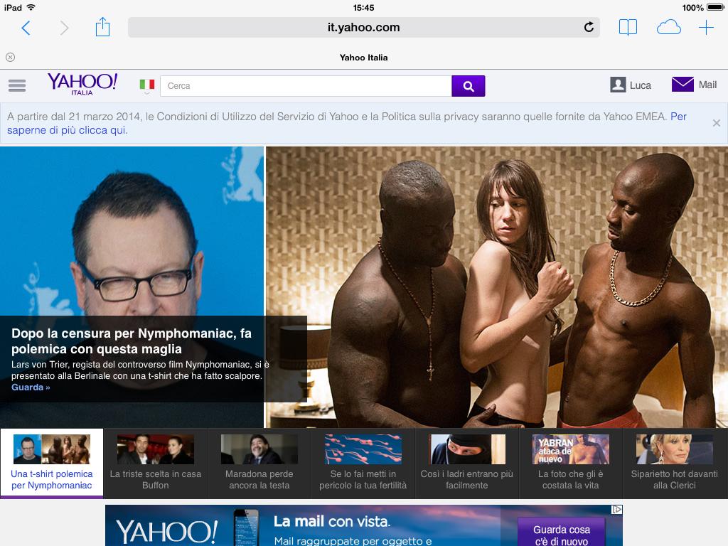 Yahoo visto da tablet