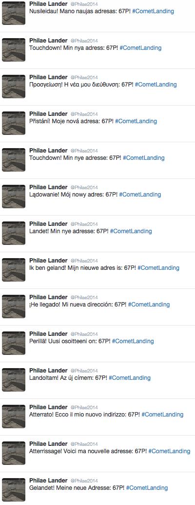 I tweet di Philae