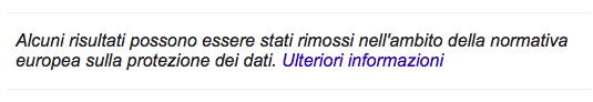 Schermata di Google: alcuni risultati possono essere stati rimossi nell'ambito della normativa europea sulla protezione dei dati