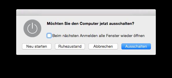 La finestra di dialogo usata per spegnere un Mac, in tedesco