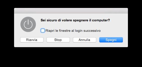 La finestra di dialogo usata per spegnere un Mac, in italiano