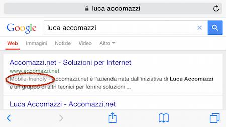 risultati di una ricerca su Google, con la scritta «mobile friendly» evidenziata.
