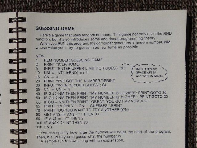 Listato di gioco in BASIC per Commodore 64