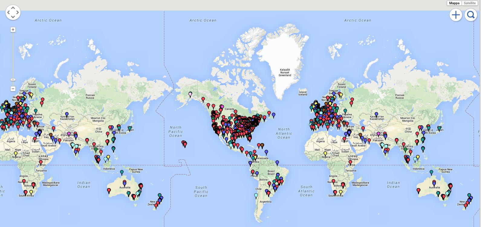 Mappa globale dei volontari del progetto per mani artificiali