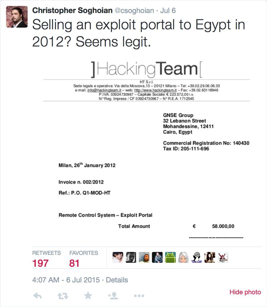 Vendita di exploit all'Egitto