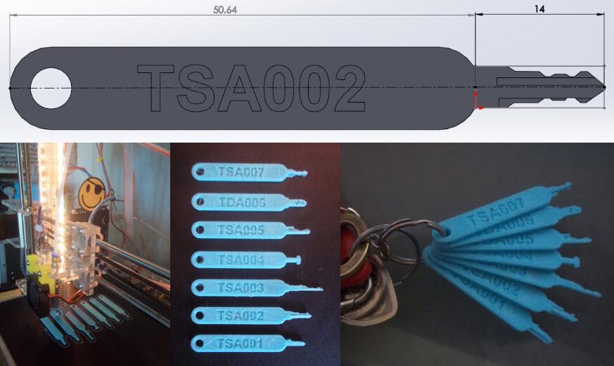 Chiavi TSA violate da una stampa 3D