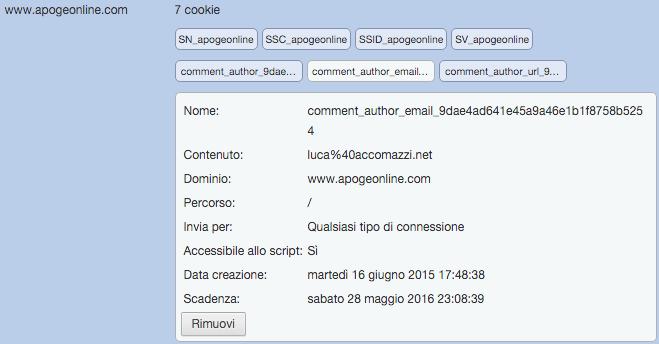 Google Chrome mostra come i cookie di Apogeonline siano insicuri.