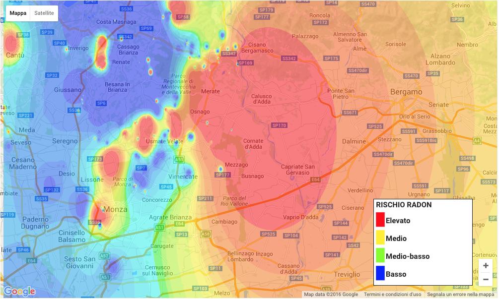 Mappa della concentrazione di radon nella Brianza.