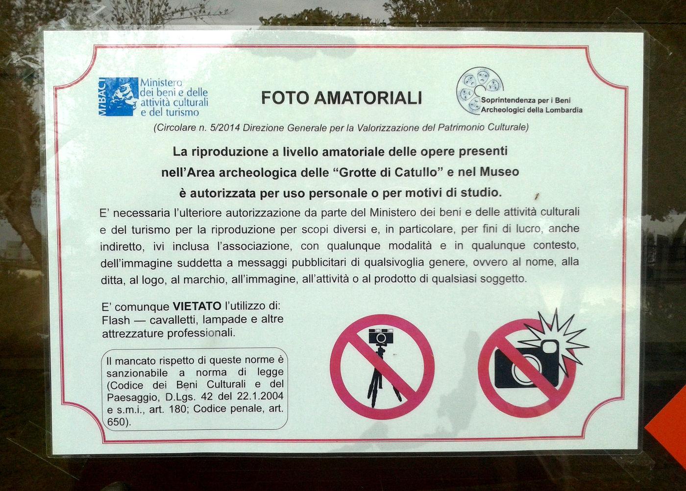 Permessi fotografici alle Grotte di Catullo