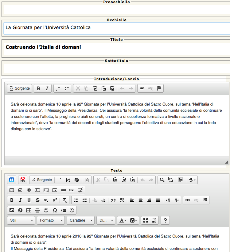 Il sistema editoriale del sito chiesacattolica.it visto da un intruso.