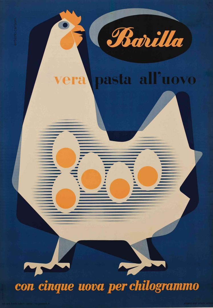 Pubblicità Barilla d'antan: cinque uova per chilo di farina