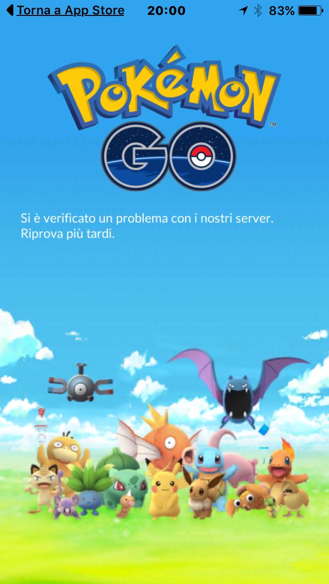 La schermata di Pokémon Go che appare quando il programma non riesce a collegarsi con il sistema centrale