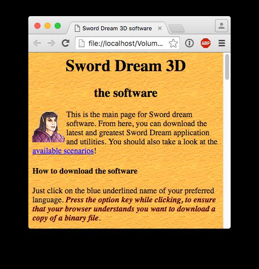 Il sito di Sogni & Spade, circa 1994