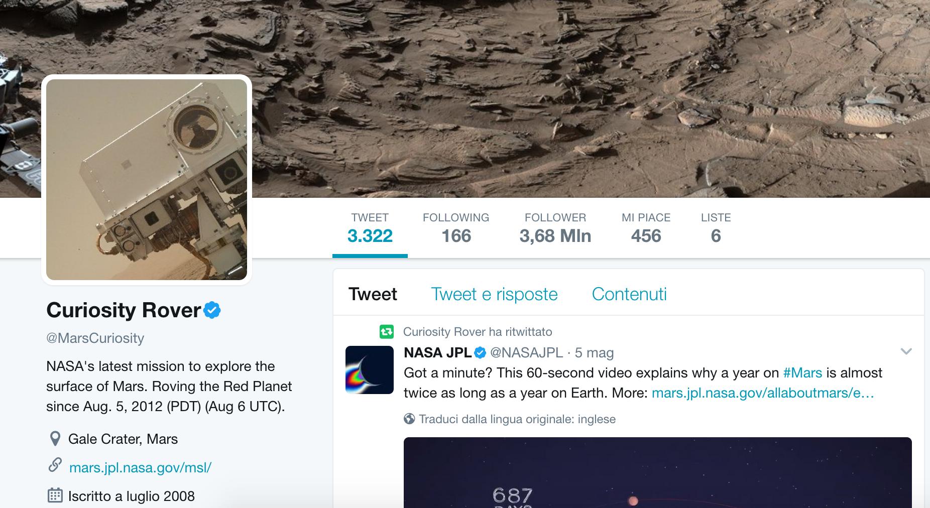Il profilo Twitter di Curiosity