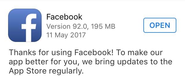 Aggiornamento della app Facebook